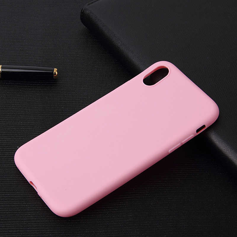 case for iphonex xsmax xr Mobile phone case matte TPU soft cover anti-fall candy color frosted protective cover on for  7 8 plus