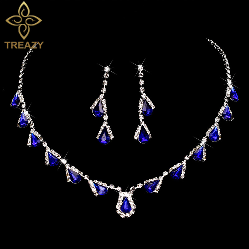 TREAZY Wedding-Jewelry-Sets Necklace Earrings Choker Crystal Waterdrop Silver-Plated