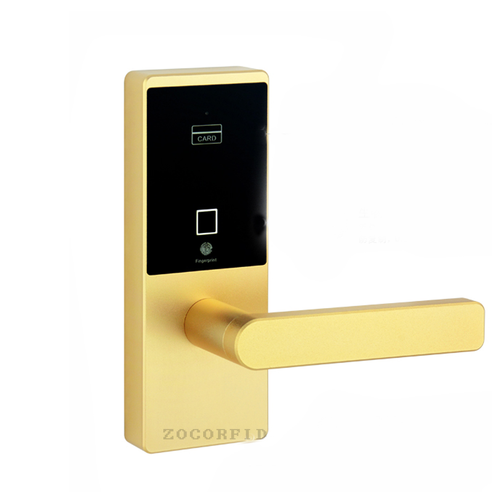 DIY Dry battery Intelligent RFID card & fingerprint door lock biometric with good quality Gold Silver Color(with key) jcsmarts jcf3301 goden color electric key card door lock fingeprint biometric lock with double tongue mortise