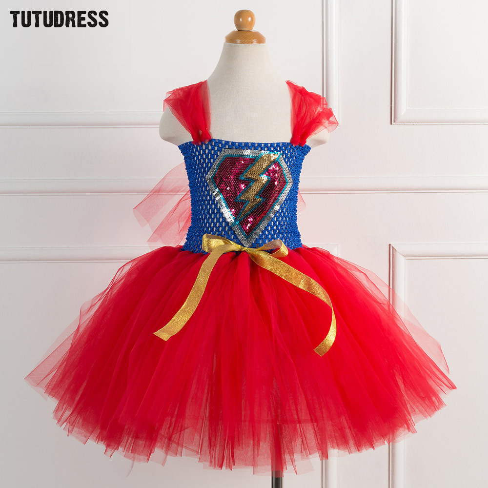 Blue Red Girls The Flash Superhero Cosplay Costumes Halloween Party Girls Tulle Dress Superman Children Kids Fancy Tutu Dress