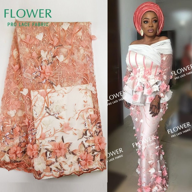 Peach Color Net Lace Fabric African 3D Flower Applique Guipure Lace Material  For Wedding Party Dresses African French Mesh Laces 1d2c506dd5f7