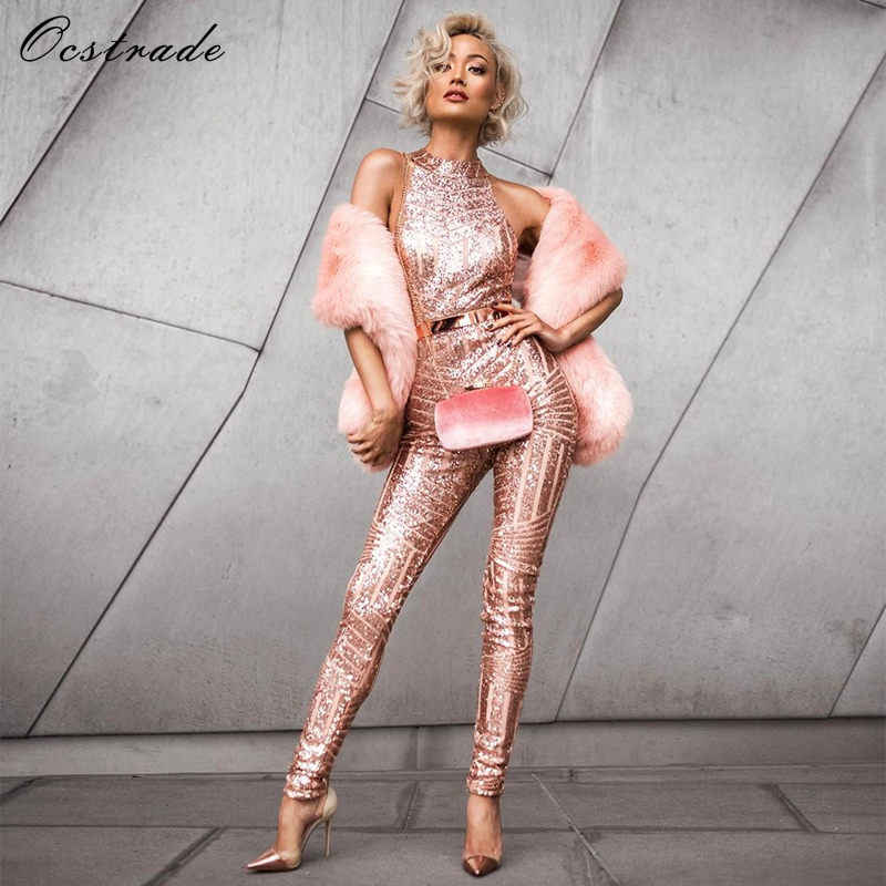 (Out Of Stock)Runway Fashion Designers 2017 Women Sexy Long Bodycon   Jumpsuit   Clubwear Celebrity Party Rose Gold Sequin   Jumpsuit