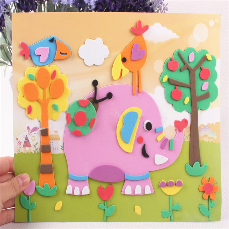 Baby DIY Cartoon Handmade Foam Painting Toy Self-adhesive Puzzle Stickers 3D EVA Early Educational Toys 21cm*26cm