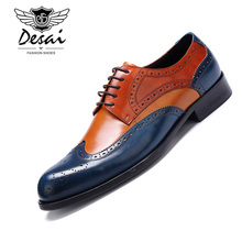 DESAI Mens formal shoes genuine leather oxford for men dressing wedding brogue office shoe lace up male zapatos de hombre