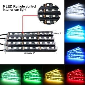 Image 2 - 4 pcs/et 7 צבע LED רכב פנים תאורה ערכת רכב סטיילינג פנים קישוט אווירת אור ואלחוטי מרחוק שליטה
