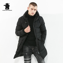 2017 New Winter Men's Winter Parka Designer Fashion Pure Color Hooded Plus Size Long Casual Thick Jacket Coat Men M~3XL CY5F80