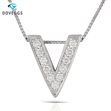 DovEggs Letter Necklace Sterling Solid 925 Silver 0.385CTW Round Brilliant Moissanite V Shaped Pendant Necklace for Women giorgio armani ecstasy lacquer блеск для губ стойкий 516 flashlight