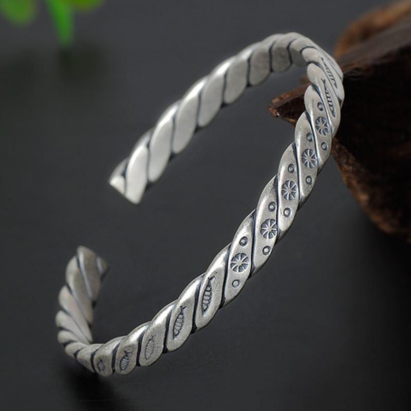 Cable Classics 990 Sterling Silver Fish Cuff Bangle Women's National Wind Engraving Weave Bracelet Bangle Open Silver Bracelet open cuff bangle