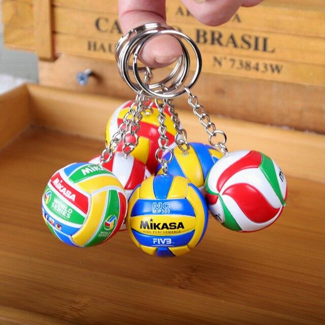 Caliente deporte de voleibol de playa de PVC llavero llave cadenas cadena anillo de fútbol playa bola clave anillo de la joyería de los hombres llavero llaveros