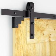 DIYHD 150 cm-300 cm negro rústico Estilo Vintage herrajes para puertas corredizas de Granero gabinete Puerta de Granero pista deslizante