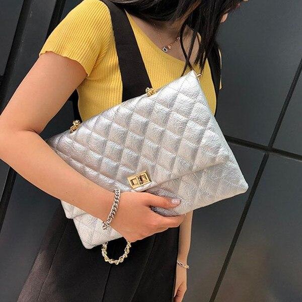 f9e12b105 Treliça de Diamante moda Das Mulheres Envelope saco de embreagem Cadeia  feminina bolsa de Ombro Bolsas