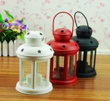 Fashion home rustic wrought iron glass lantern mousse