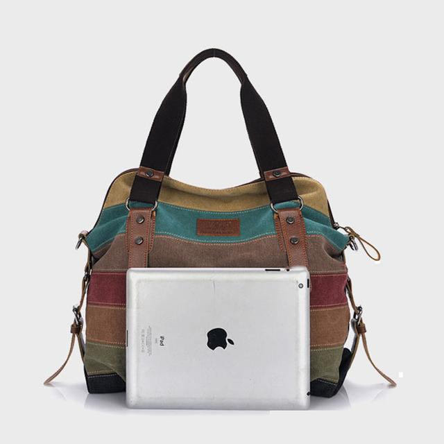 Canvas Bag Tote Striped Women Handbags Patchwork Women Shoulder Bag New Fashion Sac a Main Femme De Marque Casual Bolsos Mujer