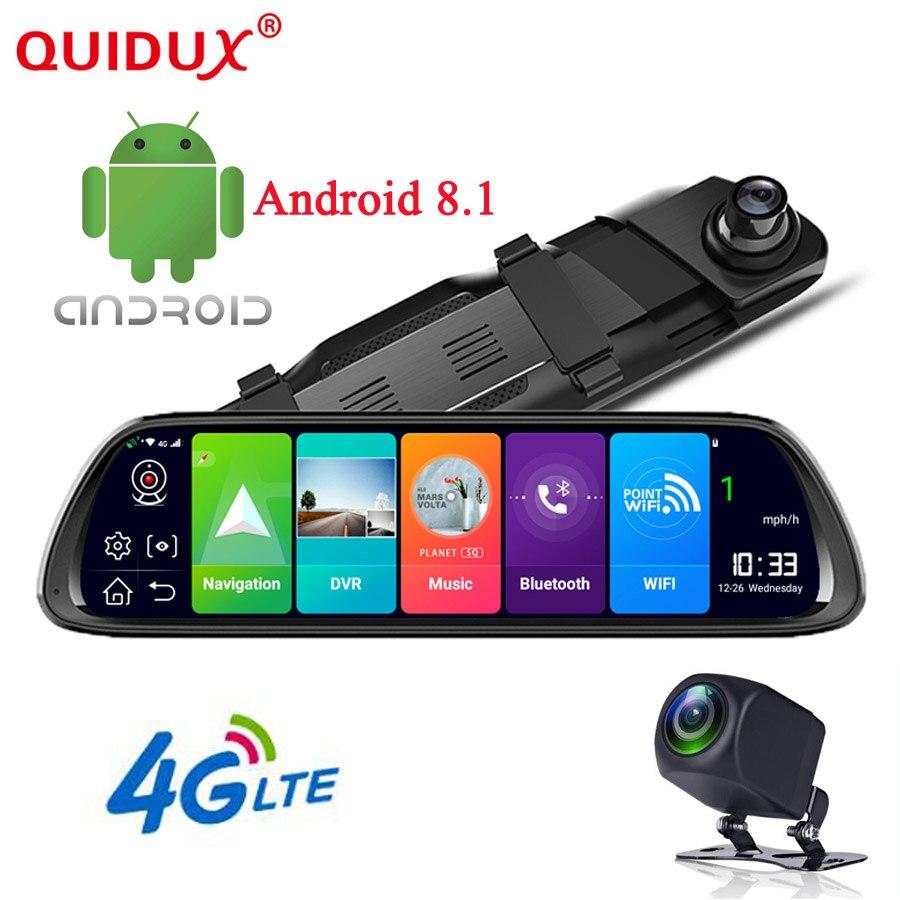 QUIDUX 10 4G ADAS Android 8.1 Car Rearview mirror DVR Camera GPS Navigation Full HD 1080P Dash cam Video Recorder WiFi monitor