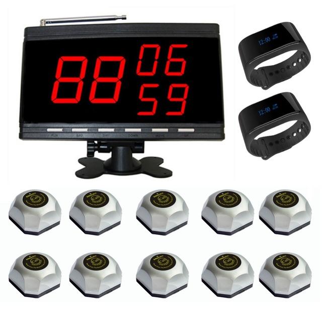Enfermeira sistema de chamada singcall, sistema de paginação sem fio 1 tela grande 2 pulseira relógios de prata e 10 botões de chamada