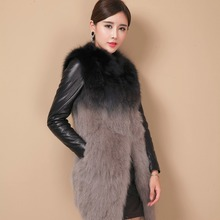 2016 New thick warm fur coats long jackets for women genuine raccoon fur with sheepskin leather sleeve outerwear