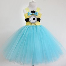Cosplay tutu dress Cheap High Quality Minion Girl Tutu Dresses Minion Girl Party Tutu Dresses Flower Headband Girl Dress posh dream mickey cartoon kids girl dress for cosplay pink and hot pink dot minnie girl tutu dresses flower girl cosplay dress