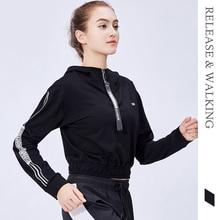 R & W зима Спорт на открытом воздухе для женщин куртка с длинным рукавом бег тренажерный зал фитнес Йога короткие куртки Женский
