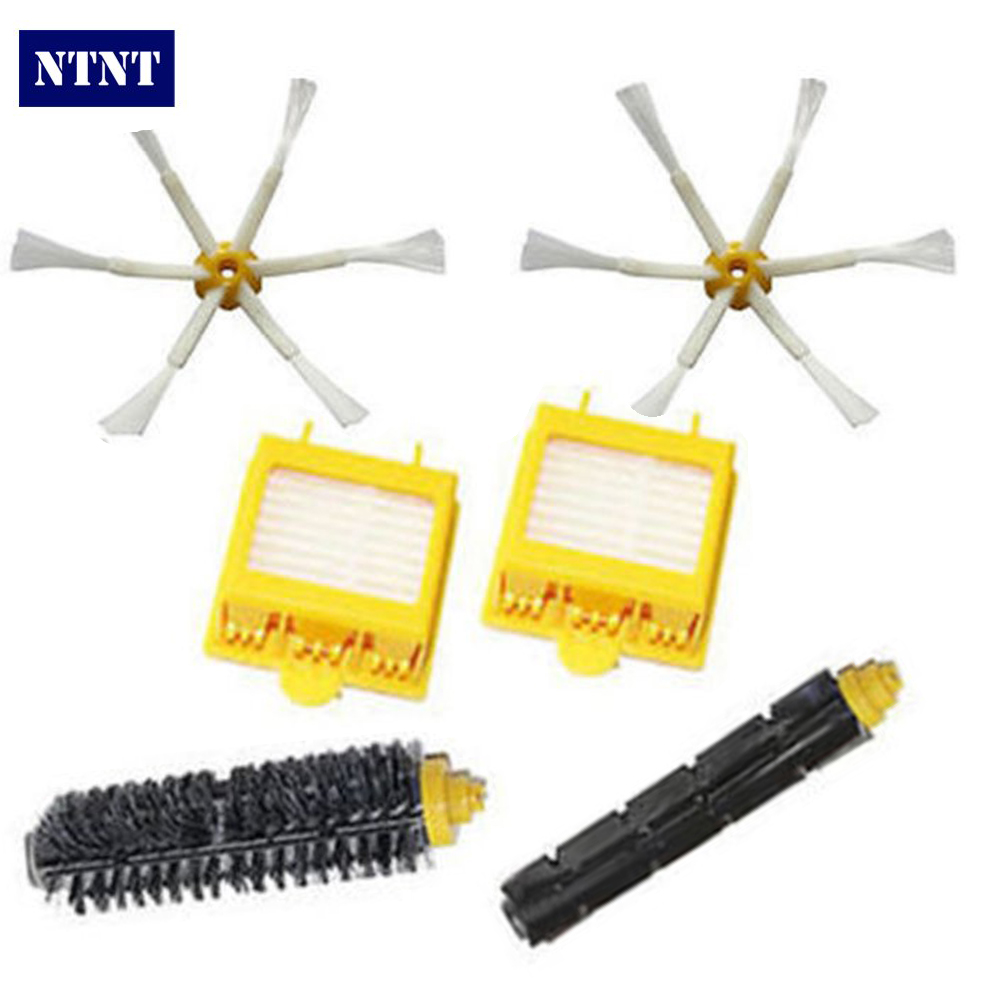 NTNT New Filter & 6 armed Side Brush Kit For iRobot Roomba 700 Series 760 770 780 Brush ntnt side brush 3 armed hepa filter clean replacement tool kit fit for irobot roomba 700 series 760 770 780 790