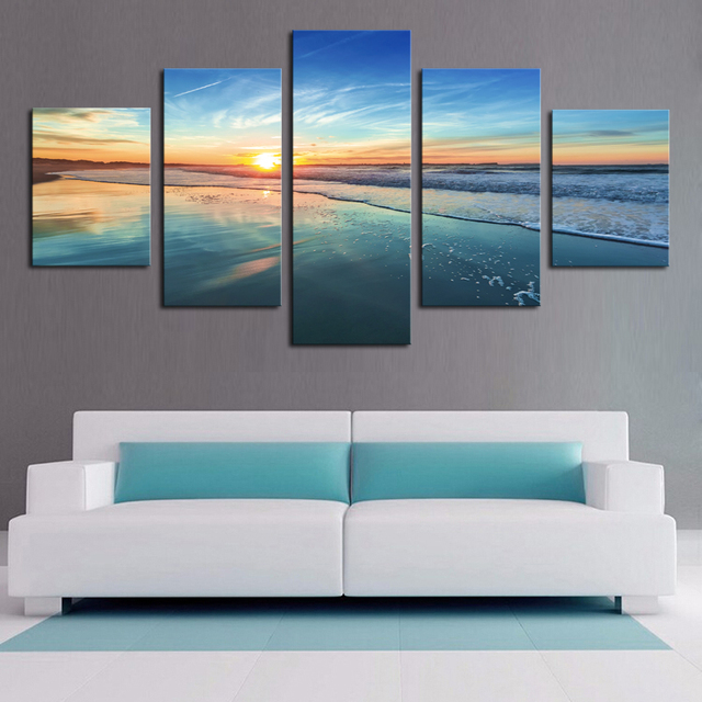 5 Pieces HD Print Painting Sunset Surf Wave Seascape For Modern Decorative  Bedroom Living Room Home