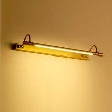 레트로 허영 조명 54/68 cm led 미러 프런트 라이트 청동 메이크업 테이블 램프 욕실 캐비닛 벽 램프 침실 홈 인테리어