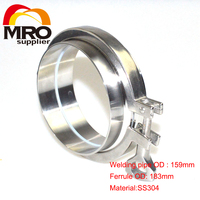 1 Set 6'' 159MM OD Sanitary Pipe Weld Ferrule + Tri Clamp + Silicone Gasket Stainless Steel SS304 SWT 159