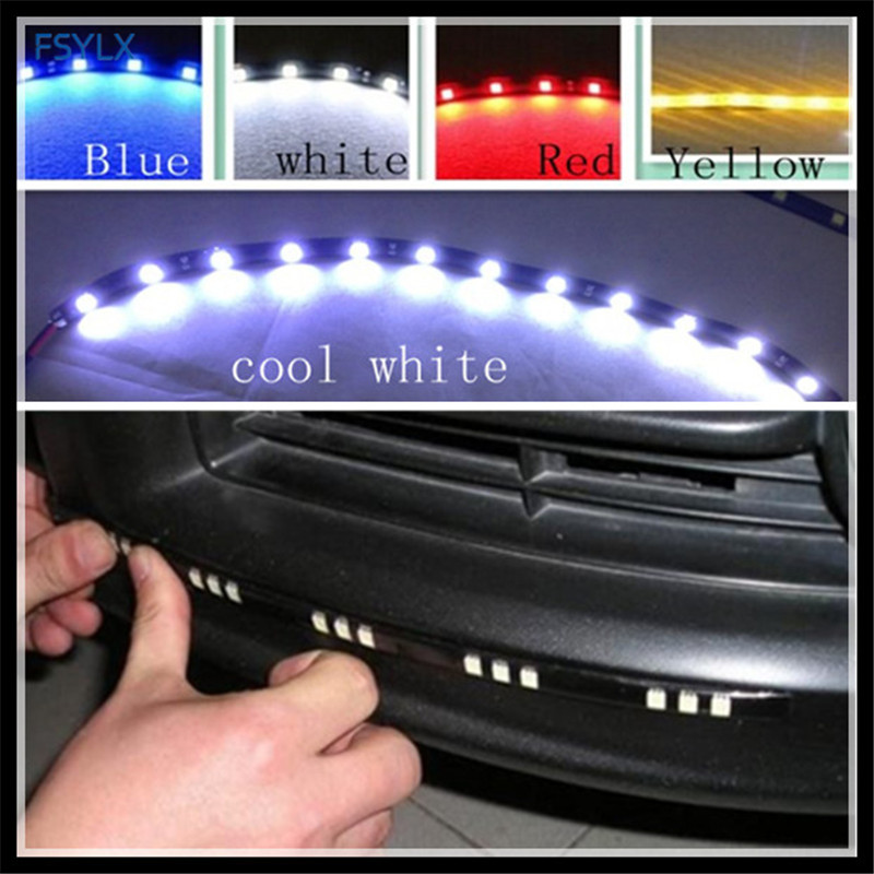 FSYLX 30cm Flexible Cut DRL LED Strips 12 SMD 5050 White Red Blue Yellow Waterproof Car LED Daytime Running Light Strip