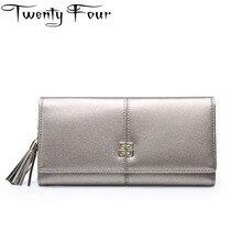 Двадцать четыре Натуральная кожа бумажник роскошные женские кисточки кошельки женщина бумажник Длинные HASP женский кошелек молодой леди держатель карты сцепления
