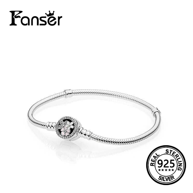 FANSER Flower Blossom chain clasp bracelet Geniune 100% S925 Pure Silver Pandor Original Has Logo Female Gift Jewelry for women