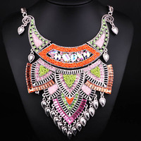 Retro Style Black Gun Plated Alloy Choker Necklace For Women Handmade Resin Beads Bohemia Statement Necklace
