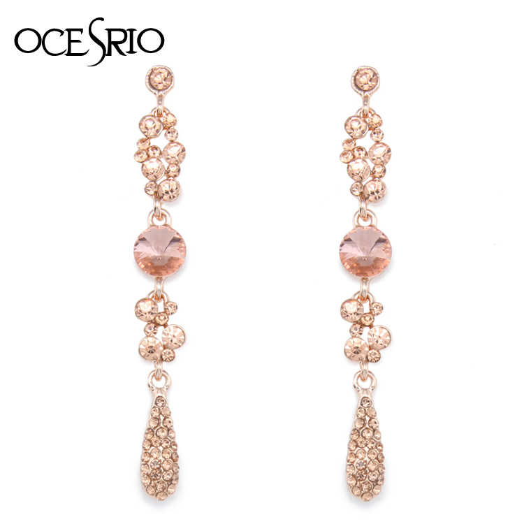 OCESRIO Pink Austrian Crystal Long Earrings for Women Rhinestone Dangle Earrings Pink Drop Earrings with Stones Brincos ers-h47