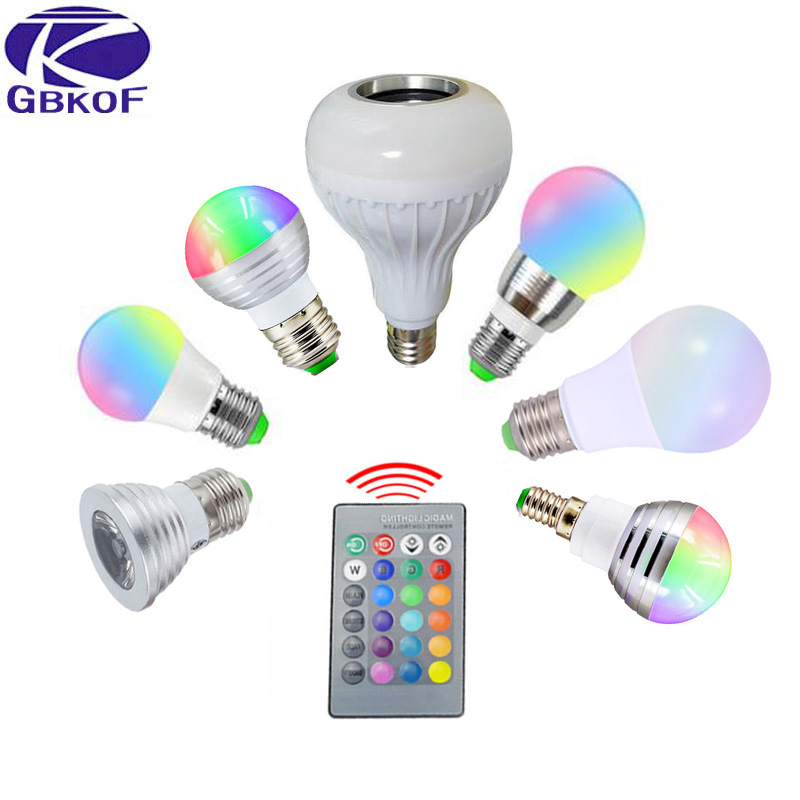 GBKOF 3W 5W 7W 10W 12W RGB LED Bulb E27 E14 GU10 AC110V 220V LED lamp with Remote Control Dimmer Holiday Colorful Night lighting rgb 10w led bulb e27 e14 ac85 265v led lamp with remote control led lighting multiple colour