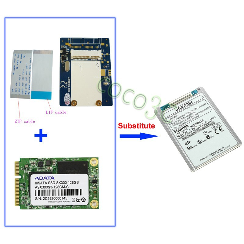 msata ssd to 40pin lif adapter 1.8 inch ce zif ssd