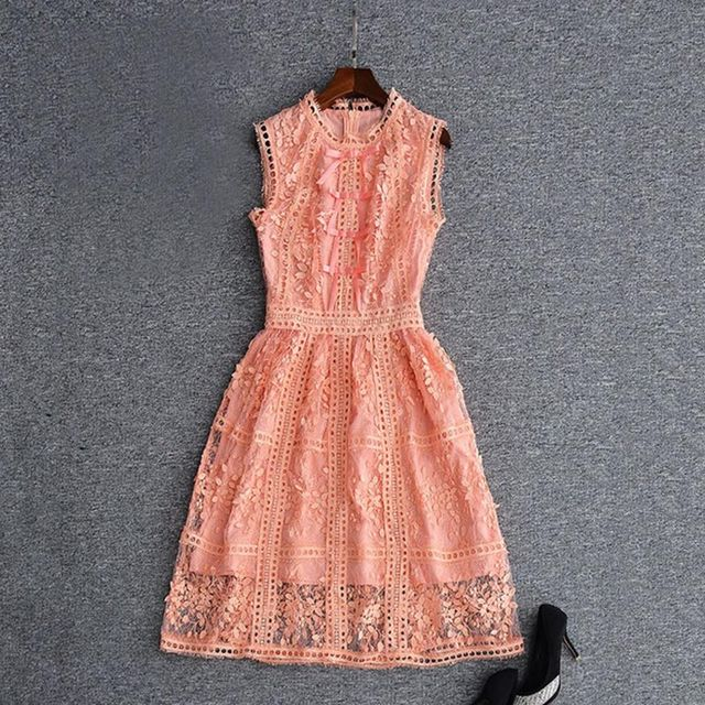 Peach Lace Dress with Fringe Sleeves
