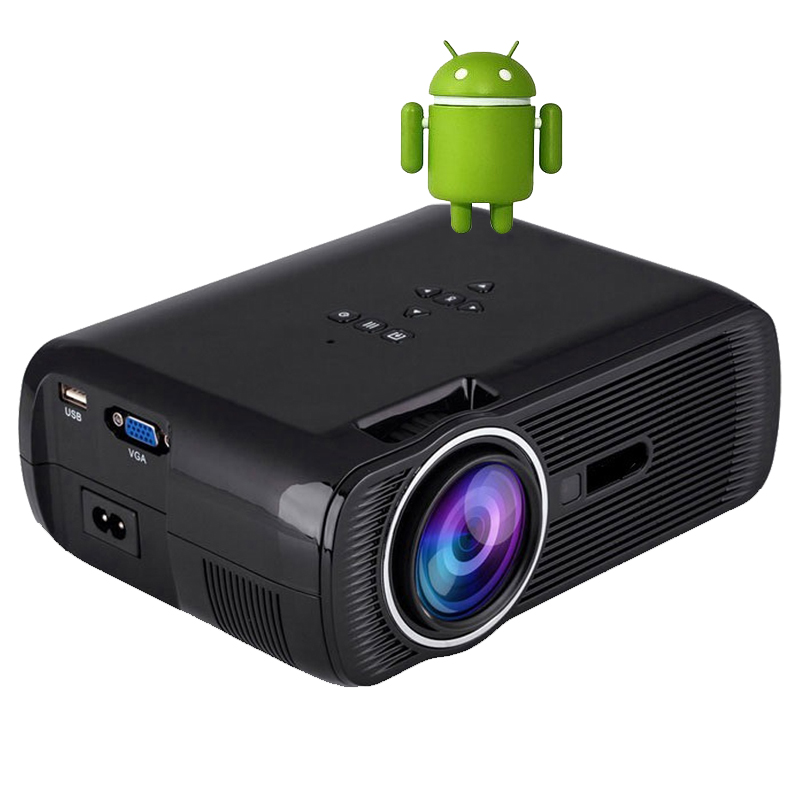 Oley android 4 4 led mini projector home theater 1800lumen for Small projector for laptop