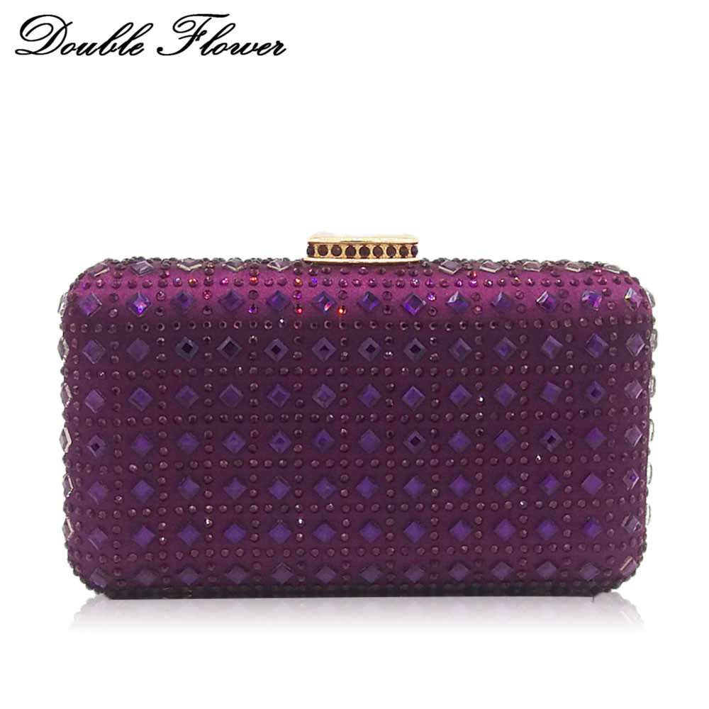 654e2c8d5f1 Detail Feedback Questions about Double Flower Purple Diamond Striped Women Evening  Clutch Bag Wedding Party Dinner Bridal Crystal Purse Chain Shoulder ...