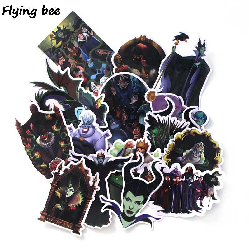 Flyingbee 17 Pcs Maleficent Graffiti Stickers for Kids DIY Luggage Laptop Skateboard Car Bicycle Phone Waterproof Sticker X0134