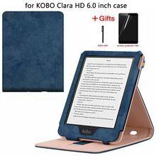 Ultra fino caso de couro inteligente para kobo clara clara hd 6 polegada 2018 capa para kobo clara hd caso com sono automático/acordar + filme + caneta