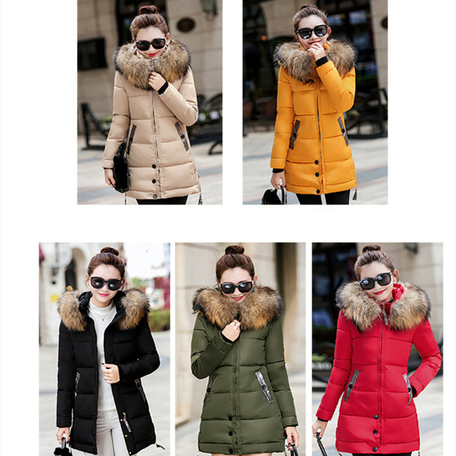 Winter Jacket Women Big Fur Hooded Parka Long Coats Cotton Padded Ladies Winter Coat Women Warm Thicken Jaqueta Feminina Inverno 5