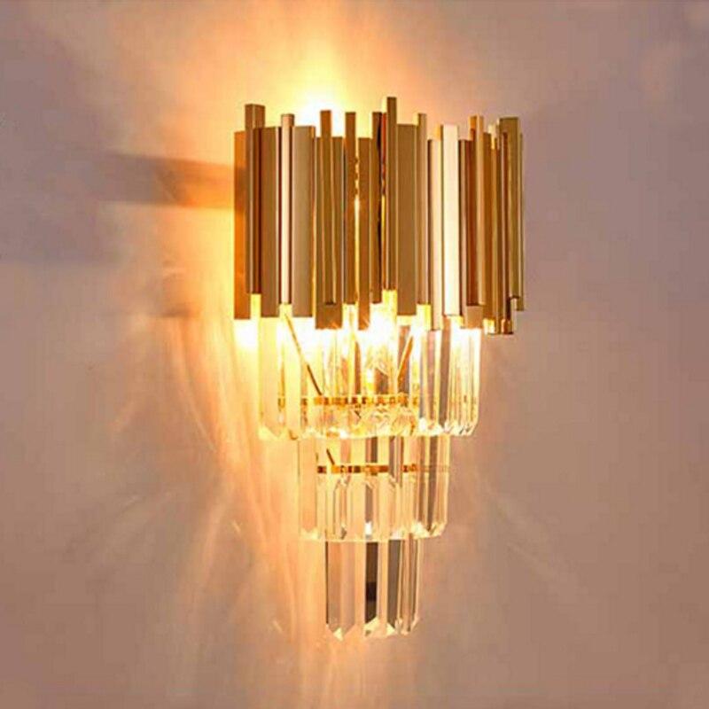Золотой бра Современный минималистский отель culb спальня прикроватные бра ТВ Креативный светодиодный лестница проход Светильник Бра крист
