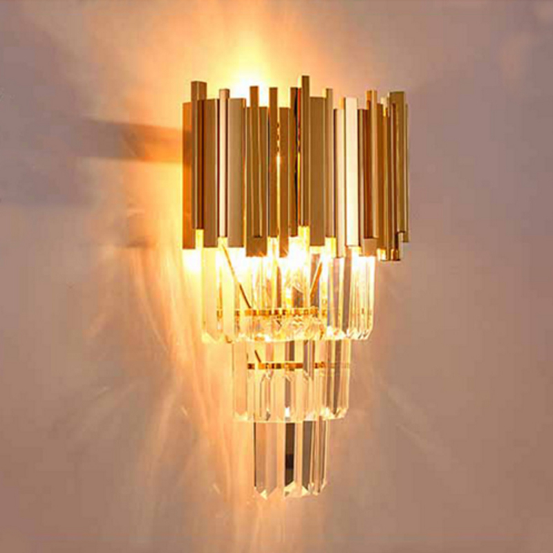 Golden wall lamp modern minimalist hotel culb bedroom bedside wall lamp TV creative led staircase aisle lamp crystal wall lamp staircase light crystal wall lamp modern bedroom bedside aisle led lights hotel wall sconce decorative led crystal light sconces