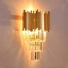 Золотой бра Современный минималистский отель Culb спальня прикроватные бра ТВ Креативный светодиодный лестница проход Светильник Бра кристалл