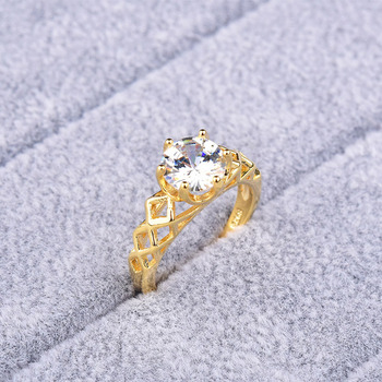 Hot Party Fashion Jewelry Gold-color White Cubic Zirconia Crystal Romantic Wedding Ring For Women Anniversity Engagement Gifts image