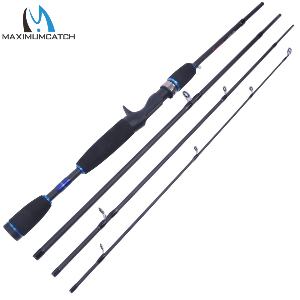 Maximumcatch Fishing Baitcasting Rod 2.1 / 2.4M 4Pieces Travel Carbon Fiber Fishing Rod Rask Action Casting Rod