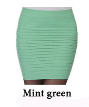 BIVIGAOS Fashion Women Summer Skinny Thin Slim Hip High Waist Elastic Pleated Skirts Short Mini Skirts Female Saias Femininas cheap Solid Pencil Above Knee Mini COTTON Polyester empire NONE free size (27*40cm high elastic) A variety of colors faldas