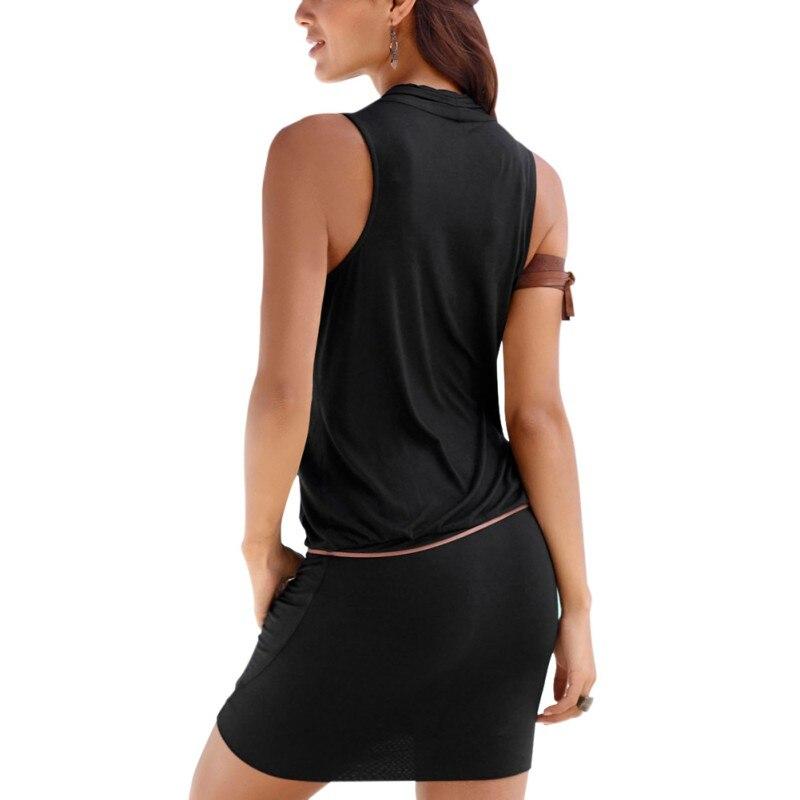 Women Clothes Women Sexy Deep V-neck Sleeveless Mini Dress Summer Beach Dress with Belt 5