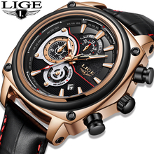 LIGE Top Brand Luxury Men's Watches Men Leather Quartz Watch Man Military Clock Sport Watch Relogio Masculino Montre Homme 2019 casual mens watches top brand luxury men s quartz watch sport military watches men leather relogio masculino montre homme