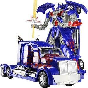 Image 1 - Робот трансформер 45 см, модель автомобиля, классические игрушки, фигурка, подарки для детей, игрушки для мальчиков, модель музыкального автомобиля