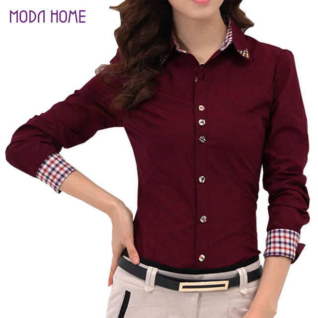 2017 Autumn Spring Women Shirt Patchwork Plaid ladies office ...