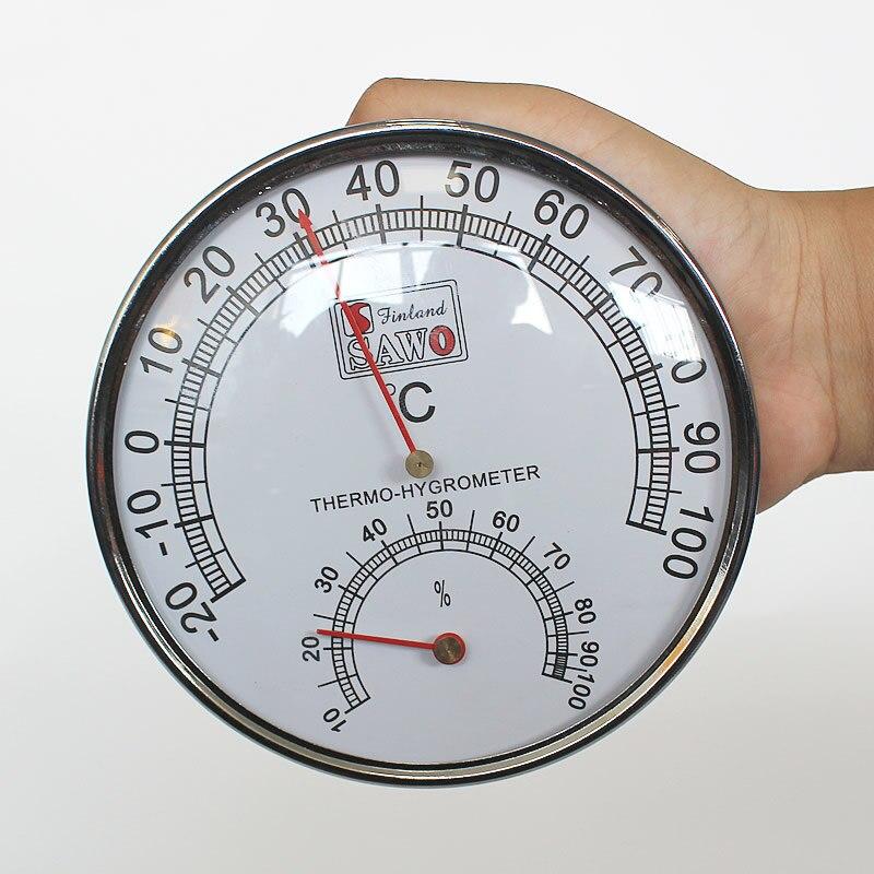 Sauna termómetro de acero inoxidable caso habitación de Sauna vapor del higrómetro del termómetro de baño Sauna y de interior al aire libre se